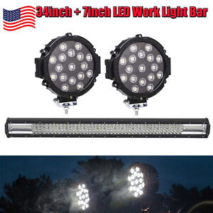 New Style 34inch 7inch Round Led Work Light Bar Spot Flood Combo Truck Offroad
