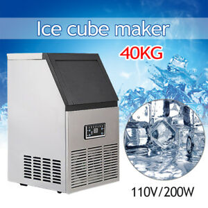 110v 40kg Auto Commercial Ice Cube Maker Stainless Steel Bar Restaurant Machine