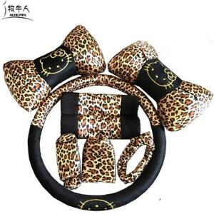 Leopard Print Universal Car Seat Interior Accessories Auto Steering Wheel Covers