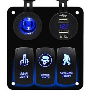 Rocker Switches 3 Gang Blue Panel With Dual Usb And Power Charger Socket For Car
