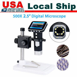 500x Hd Portable Usb Digital Microscope Camera With 3 5 Lcd Screen Stand Us