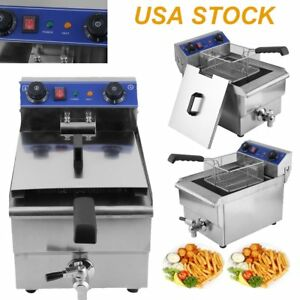 1 65kw 13l Electric Countertop Deep Fryer Tank Basket Commercial Restaurant Oy