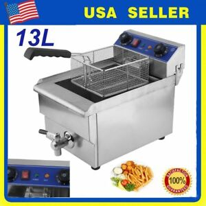 13 Liter Electric Countertop Deep Fryer Single Container Commercial Restaurant Y