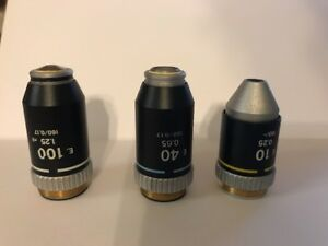 Set Of 3 Nikon E 10x 40x 100x Oil Microscope Objectives 10 40 100
