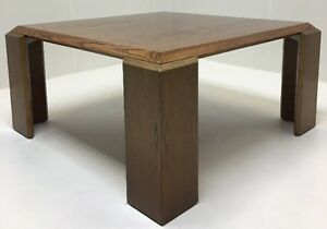 Vintage Mid Century Modern Brutalist Walnut Coffee Table Renz Furniture Rare