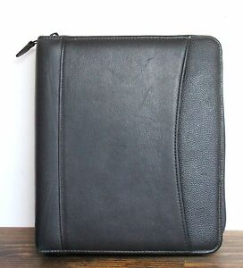 Franklin Planner Black Leather Business Organizer Binder Folder 7x1 r Size 10x9