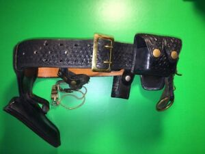 Vintage Police Safety Speed Holster Belt Leather Basketweave 6 Attachments