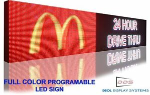 20 X 76 Semi Outdoor Full Color Led Sign Programmable Image Open Display Board