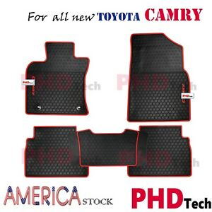 Prime Quality All Weather Rubber Slush Floor Mats Toyota Camry 17 Onward Red Tri