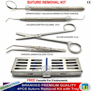 Medentra Suture Removal Practice Kit Stitch Scissors Tissue Forceps With Tray