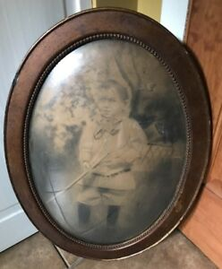 Vintage Oval Concave Glass Wood Picture Frame Hand Painted Boy Wall Decor Estate
