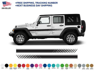 0404 Jeep Wrangler Rubicon Stripes Decal Graphic Jk Jku Side Vinyl Racing