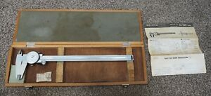 Mitutoyo Dial Caliper 505 628 In Wood Box W Manual Clean Used Condition