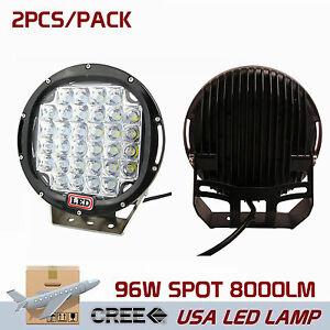 2x 9inch Offroad 96w Round Led Spot Driving Work Light Trailer Boat Bumper Black