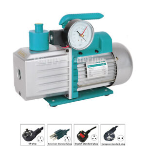 Double Stage Refrigeration Rotary Vane Vacuum Pump 220v At 3 5cfm Gauge Valve