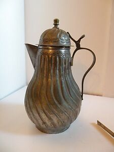 Zu7343 Antique Copper And Tin Washed Coffee Pot Made China