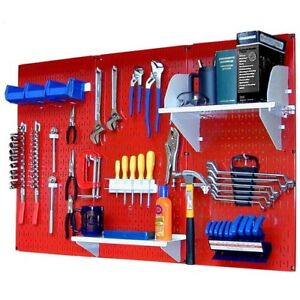 Pegboard Tool Storage Kit Peg Accessories Metal Wall Mount Panel Board Red White