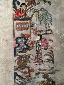 Antique Qi Ing 19th C Chinese Embroidered Silk Panel Sleeve Band Embroidery 1