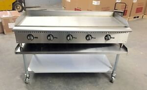 60 Flat Griddle 5 Thermostat Control Gas Grill New Breakfast Diner 5 Foot