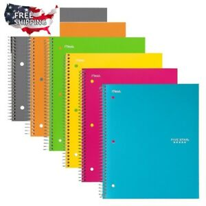 Five Star Spiral Notebooks College Ruled Paper 100 Sheet 11x8 5 Assorted 6 Pack
