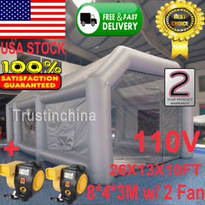 New Inflatable Giant Car Workstation Spray Paint Booth Tent 8 4 3m Grey W 2 Fans