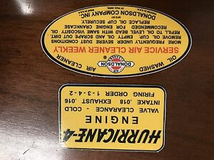 Willys Jeep F 134 Hurricane Donaldson Oil Bath Repro Decals