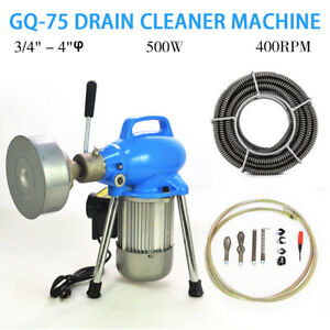 3 4 4 Dia Sectional Electric Pipe Drain Cleaner Machine 99ft Max Length Hq