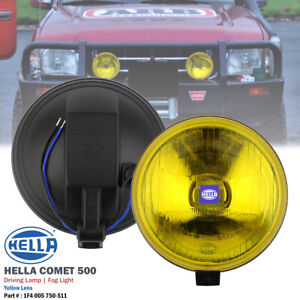 1 Pair Hella Comet 500 Yellow 12v Round Driving Spot Light Fog Lamp For Pickup