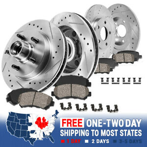 Front Rear Drill Slot Brake Rotors Ceramic Pads For Expedition F150 2wd