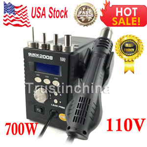 Quick 2008 Portable Hot Air Smd Rework Station Solder Blower Heat Gun 700 W 110v