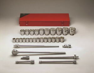 Wright Tool 650 3 4 Drive 31 Pieces Standard Metric Socket Set 12 point