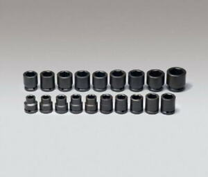 Wright Tool 655 3 4 Drive 6 Point Standard Metric Impact Socket Set 19 piece