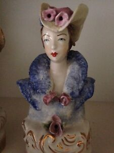 Vtg Porcelain Bust Figurine Statue Victorian Lady W Hat Cordey Marked Numbered