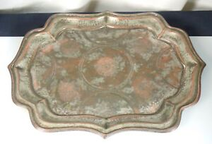 Antique Silvered Copper Islamic Tray 52645