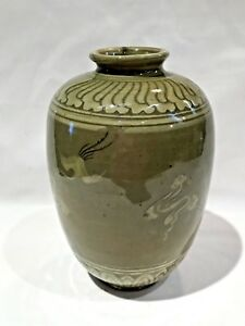 Antique Vintage Korean Celadon Vase Marked On Bottom