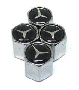 Universal Car Tire Valve Dust Stems Cap Cover For Mercedes Benz Silver