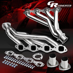 L R Square Port Shorty Exhaust Header Manifold For 65 73 Chevy Gm Bbc V8 366 454