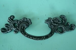 90 S Vintage Gothic Black Silver French Provincial Drawer Pull Original Patina