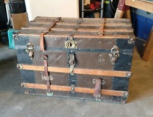 Antique Flat Top Steamer Trunk Vintage Chest Top Compartment Local Pickup Only