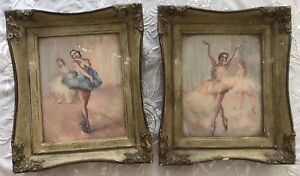Beautiful Pair Vintage Antique Water Color Painting Art Wood Glass Frame Picture