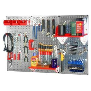 Pegboard Tool Storage Kit Peg Accessories Wall Mount Metal Panel Board Garage