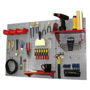 Pegboard Tool Storage Kit Peg Accessories Wall Mount Metal Panel Board Gray Red