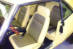 1969 Camaro Coupe Deluxe Houndstooth Rear Seat Covers Yellow