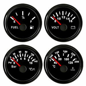 4 Gauge Set Fuel Level Temp Volt Meter Oil Pressure Black 52mm 2 1 16 Us Stock