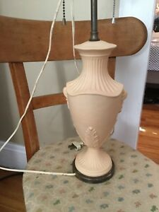 Antique Bisque Fluted Urn Shaped Lamp W Applied Decoration Wedgwood 13 T