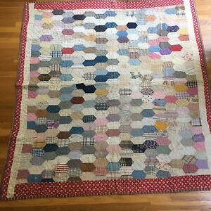 Antique Vintage Primitive Hand Sewn Feedsack Patchwork Quilt Coverlet 70 X 66