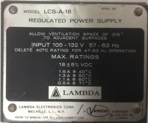 Lambda Lcs a 18 Regulated Power Supply 18vdc