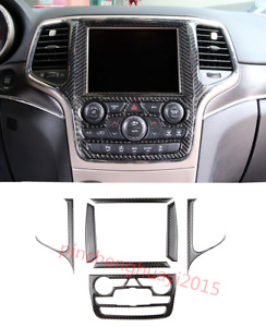 Real Carbon Fiber Gps Navigation Panel Cover Trim For Jeep Grand Cherokee 14 18