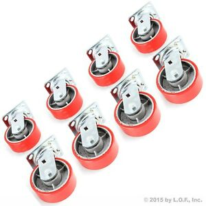 8 Red Wheel Caster Set 5 Wheels All Swivel Heavy Duty Iron Hub No Mark Casters