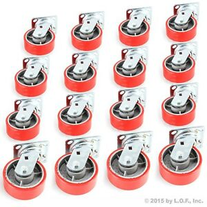 16 Red Wheel Caster Set 5 Wheels All Swivel Heavy Duty Iron Hub No Skid Mark
